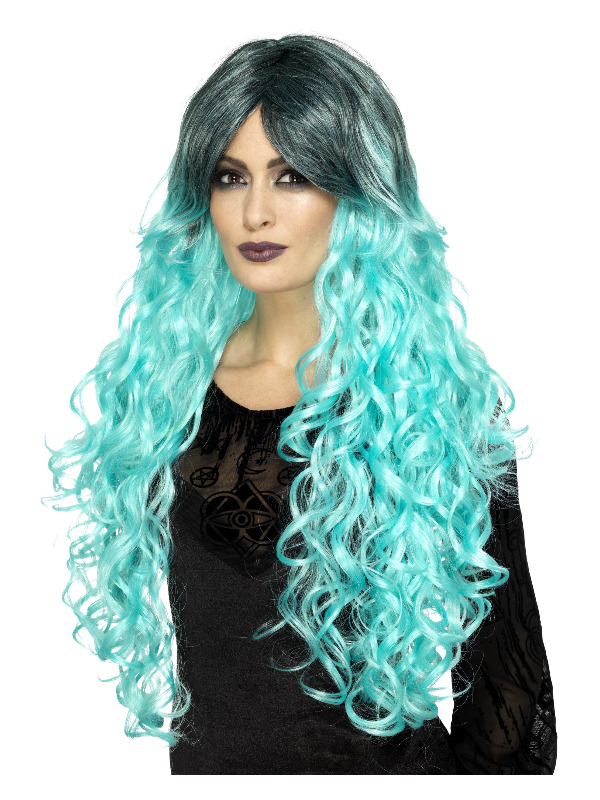 Gothic Glamour Wig, Teal Green, with Dark Roots