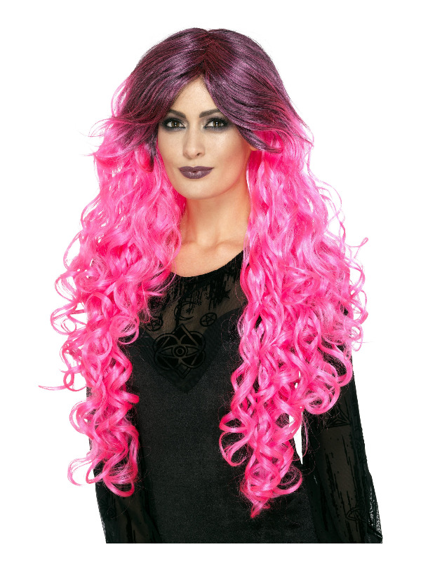 Gothic Glamour Wig, Neon Pink, with Dark Roots