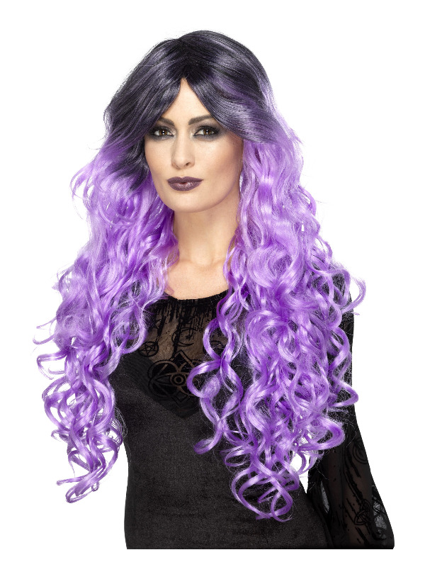 Gothic Glamour Wig, Lilac Purple, with Dark Roots