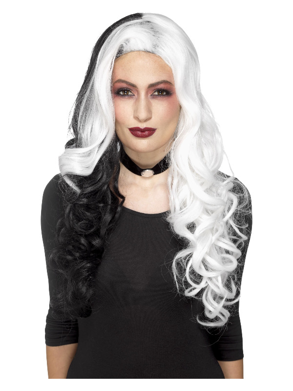 Deluxe Evil Madame Wig, White & Black, Heat Resistant / Styleable