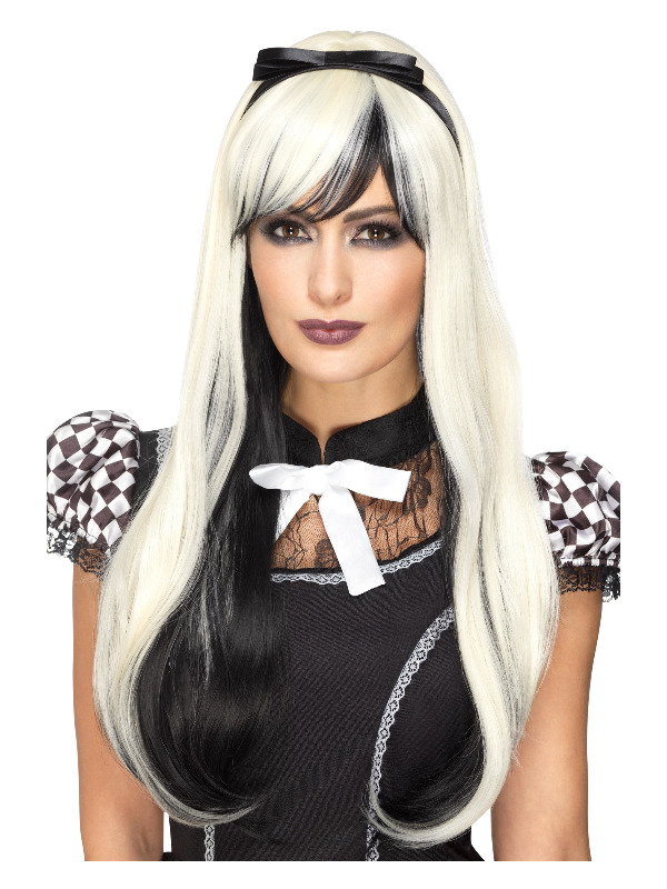 Deluxe Gothic Alice Wig, Blonde & Black, Heat Resistant / Styleable, with Headband