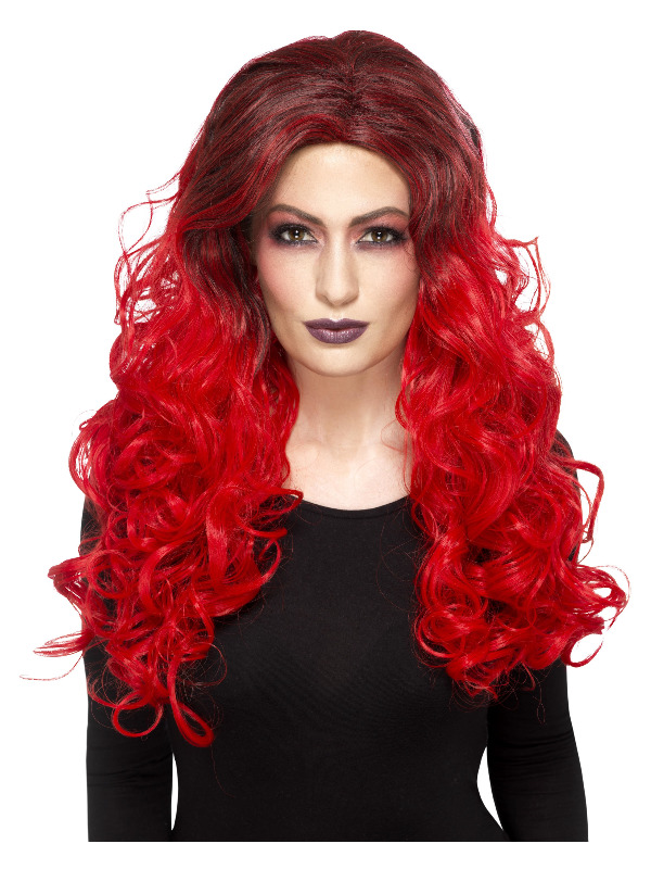 Deluxe Devil Glamour Wig, Red, Heat Resistant / Styleable
