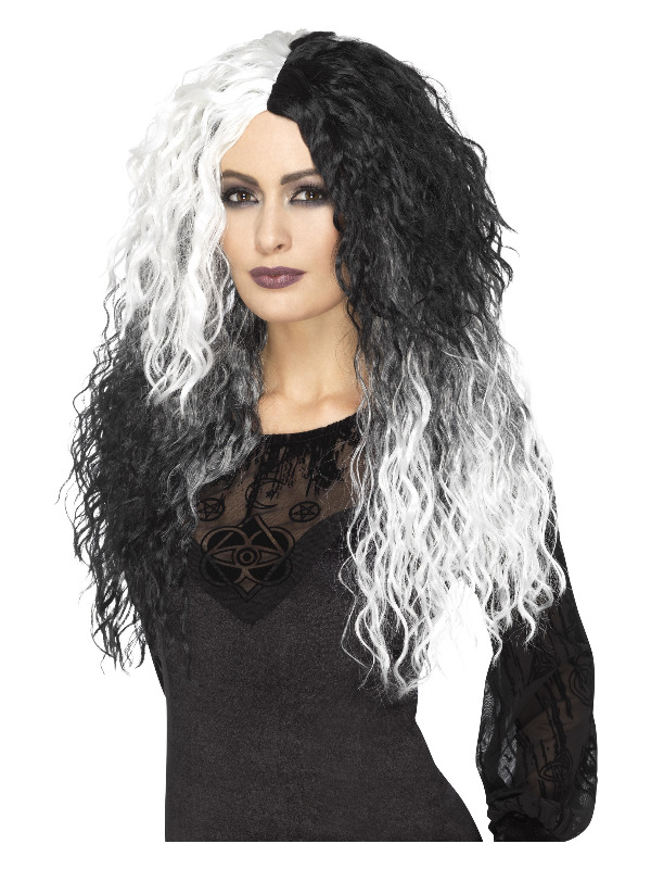Glam Witch Wig, Black & White, Long & Wavy