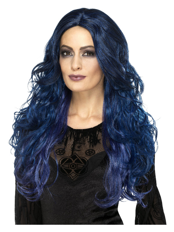 Occult Witch Siren Wig, Blue & Black, Long & Wavy, Two Tone