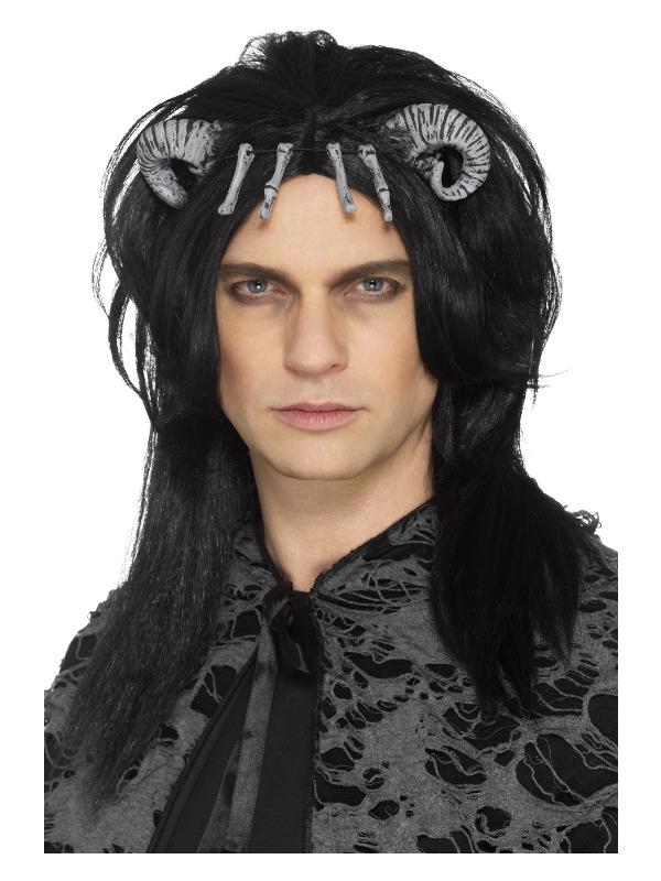 Demonic Creature Wig, Black, with Latex Horns & Bones