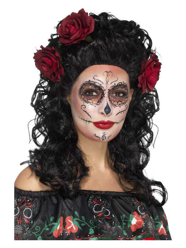 Deluxe Day of the Dead Wig, Black, with Roses