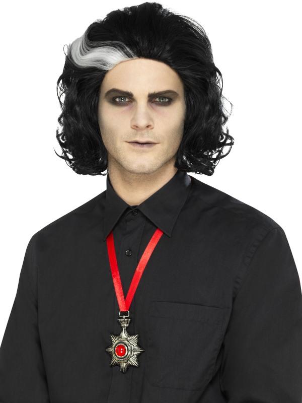 Deluxe Vampire Metal Medallion Necklace, Silver