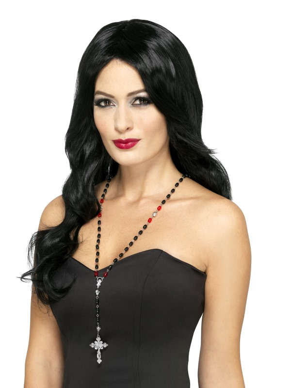Gothic Vampire Rosary Bead Necklace, Black & Red