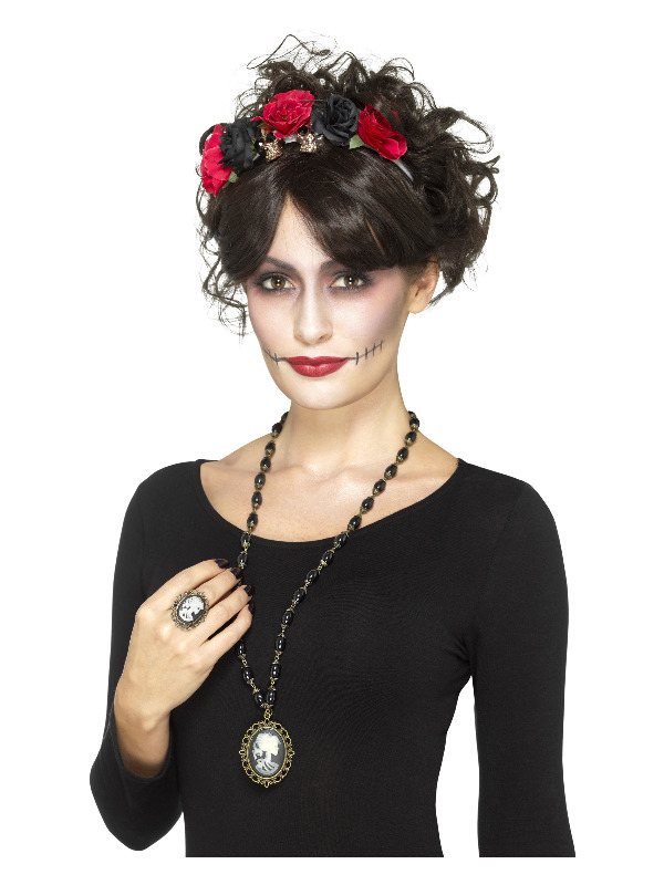 Day of the Dead Skeleton Cameo Set, Black, with Necklace & Ring