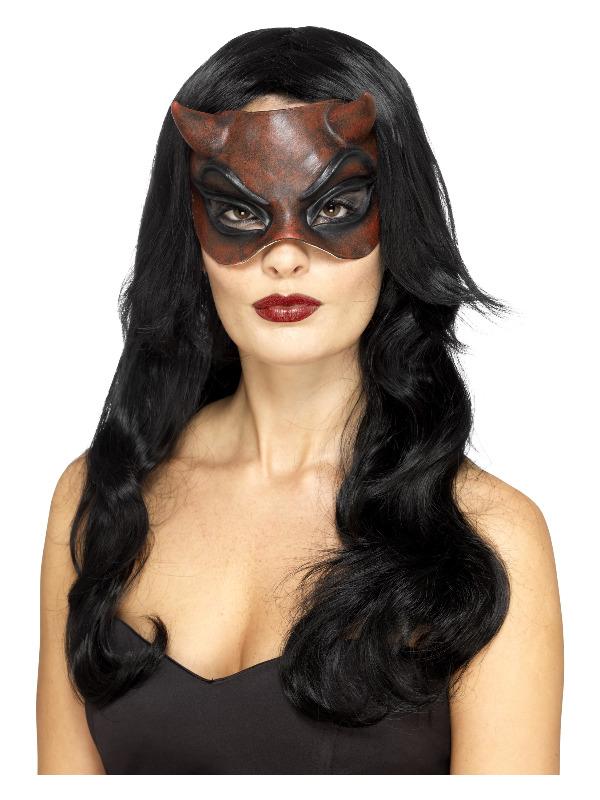 Masquerade Devil Mask, Latex, Red, Ladies