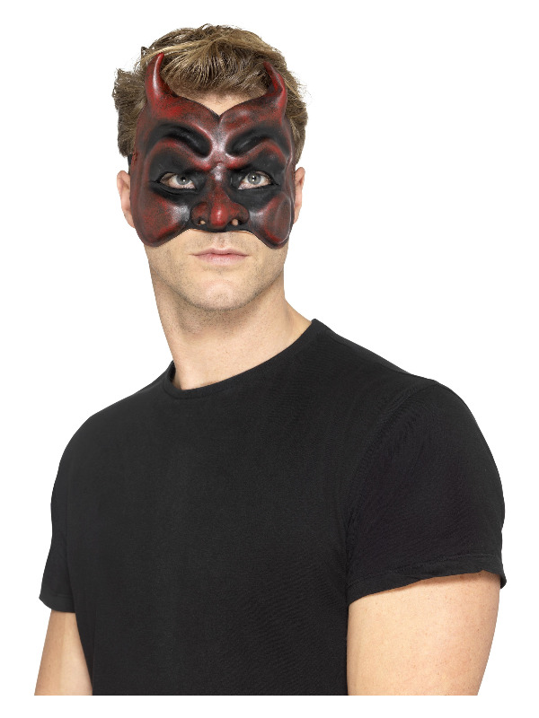 Masquerade Devil Mask, Latex, Red, Mens