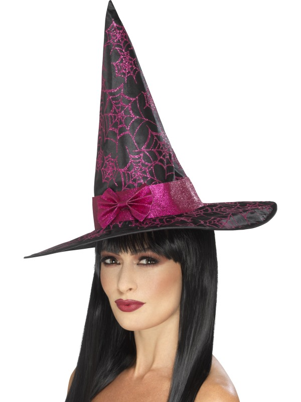 Glitter Cobweb Witch Hat, Black & Pink
