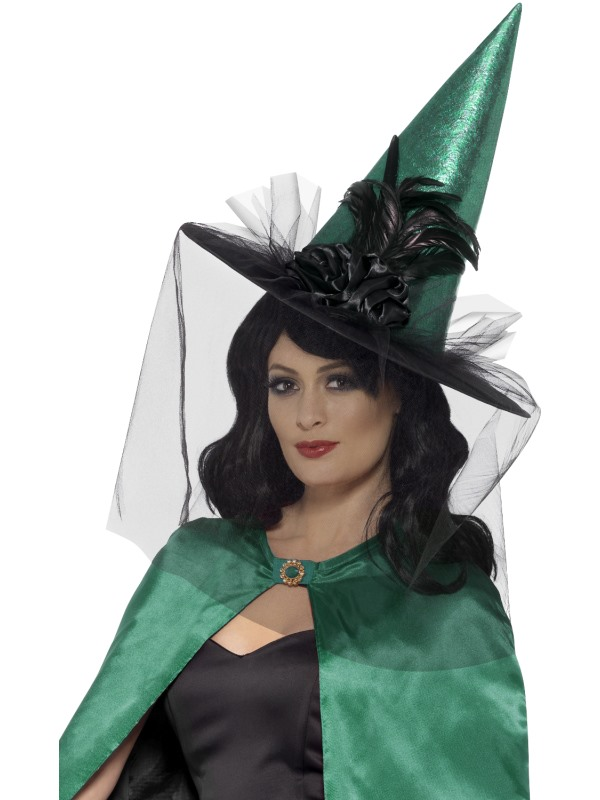 Deluxe Witch Hat, Green & Black, with Feathers & Netting
