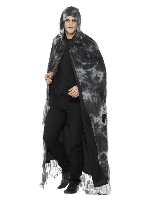 Deluxe Spellbound Decayed Cape, Black & Grey, Tie Dye, Unisex