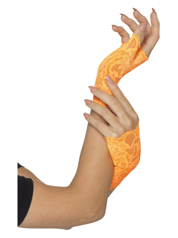 80s Fingerless Lace Gloves, Short, Neon Orange