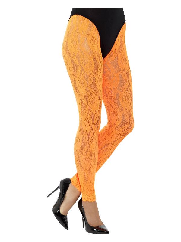 80s Lace Leggings, Neon Orange