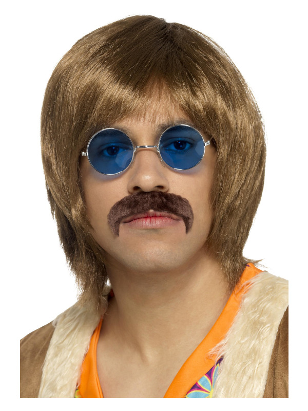 60s Hippie Kit, Brown, with Wig, Tash & Hippie Specs