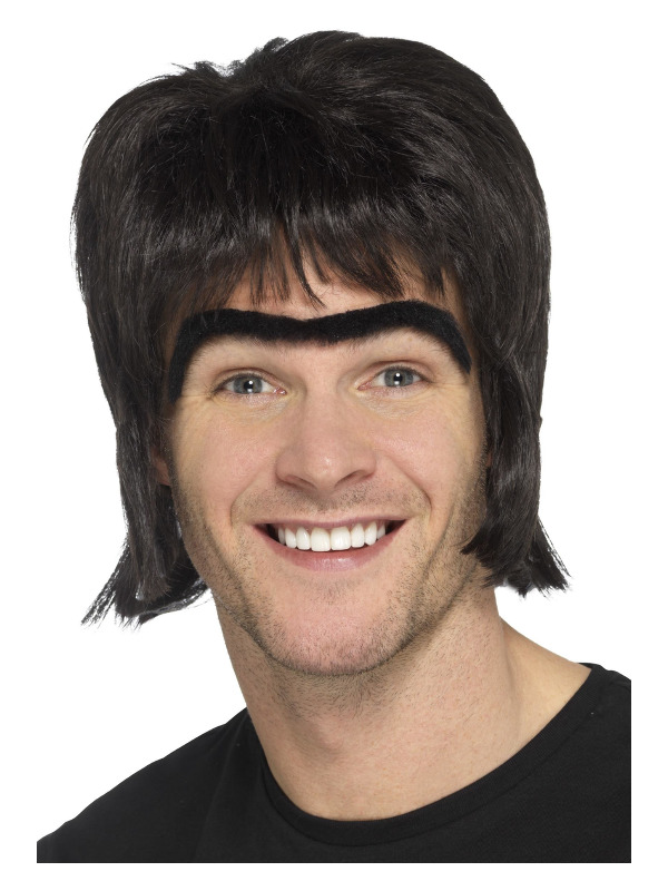 90s Britpop Kit, Black, with Wig & Monobrow