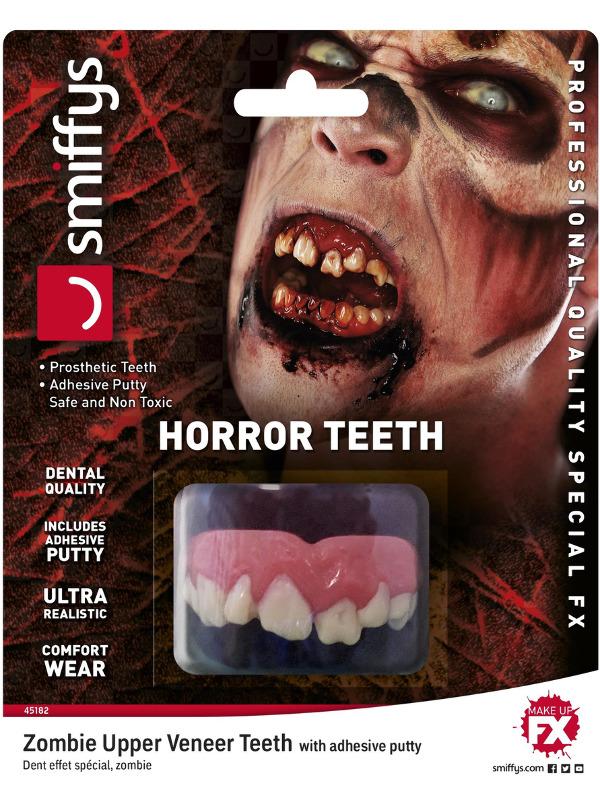 Smiffys Make-Up FX, Horror Teeth, Zombie, White, with Upper Veneer Teeth & Fixing Plastic