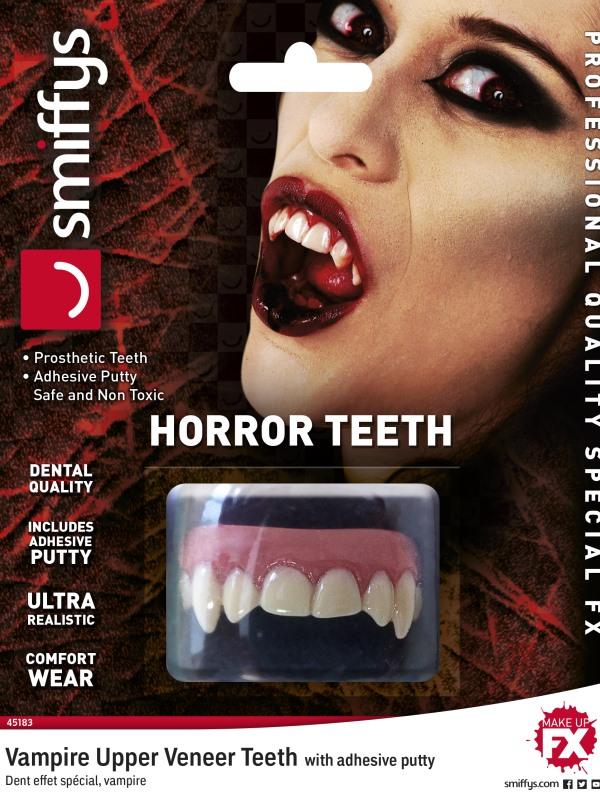 Smiffys Make-Up FX, Horror Teeth, Vampire, White, with Upper Veneer Teeth & Fixing Plastic