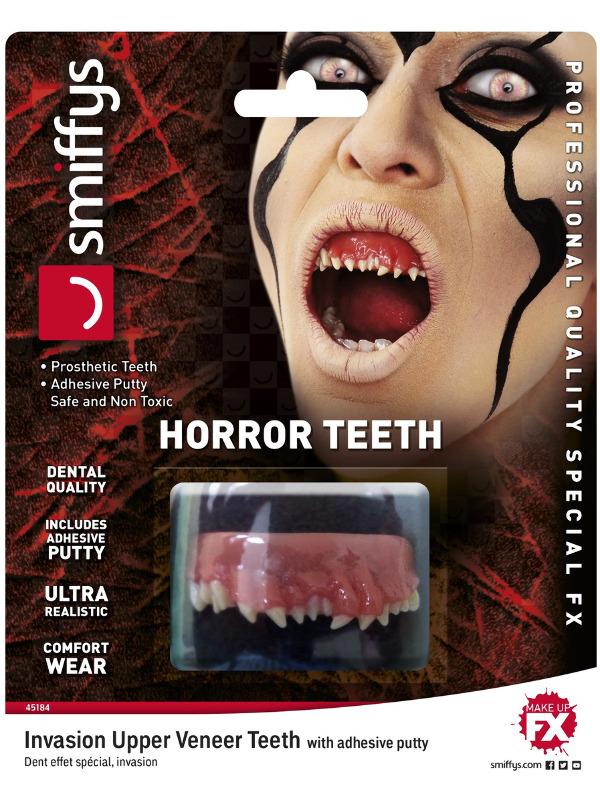 Smiffys Make-Up FX, Horror Teeth, Invasion, White, with Upper Veneer Teeth & Fixing Plastic