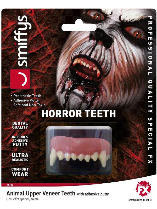 Smiffys Make-Up FX, Horror Teeth, Animal, White, with Upper Veneer Teeth & Fixing Plastic