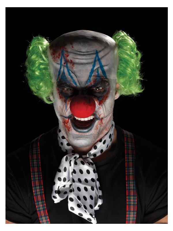 Smiffys Make-Up FX, Sinister Clown Kit, Aqua, Multi-Coloured, Bald Cap, Hair, Nose, Facepaint, Blood & Applicator