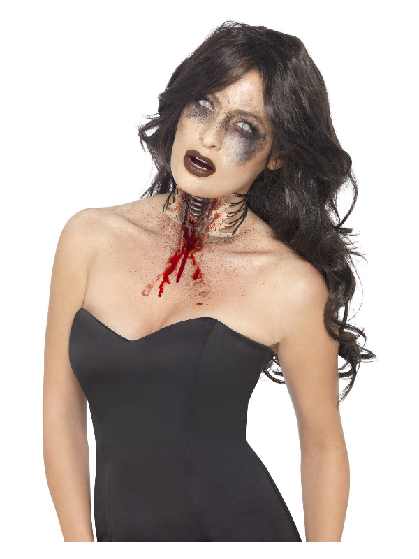 Zombie Exposed Throat Wound, Flesh, with Lace Tie