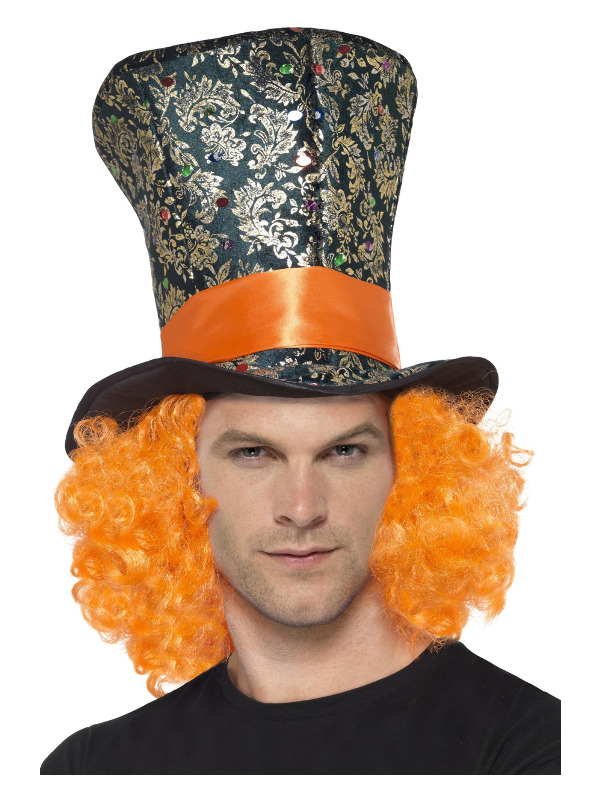 Top Hat, Multi-Coloured, with Attached Hair
