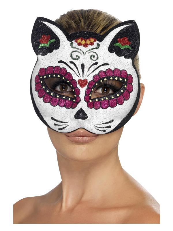 Sugar Skull Cat Eyemask, with Glitter