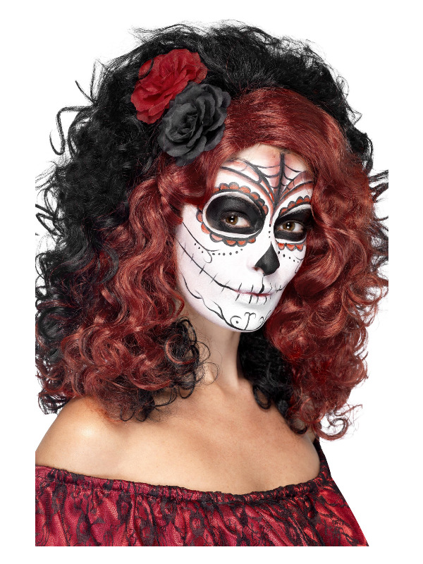 Day of the Dead Wig, Black, with Roses