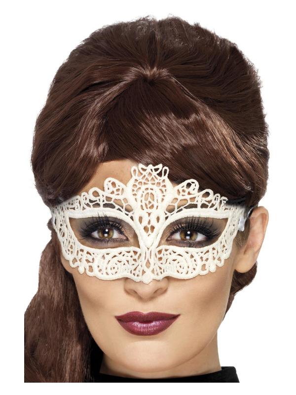 Embroidered Lace Filigree Eyemask, White