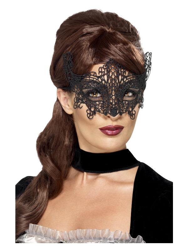 Embroidered Lace Filigree Swirl Eyemask, Black