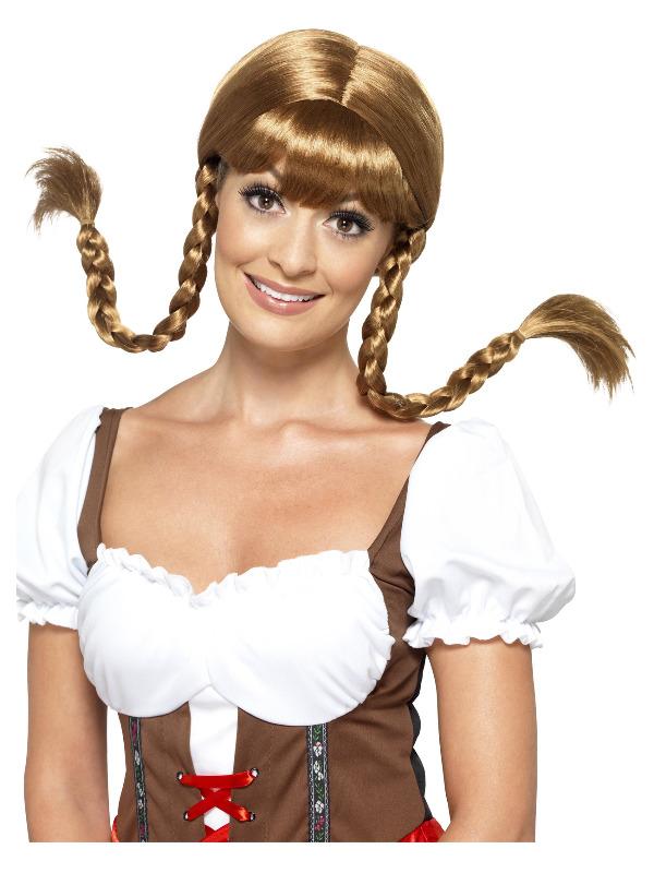 Bavarian Babe Wig, Plaited, Brown, with Hidden Wire
