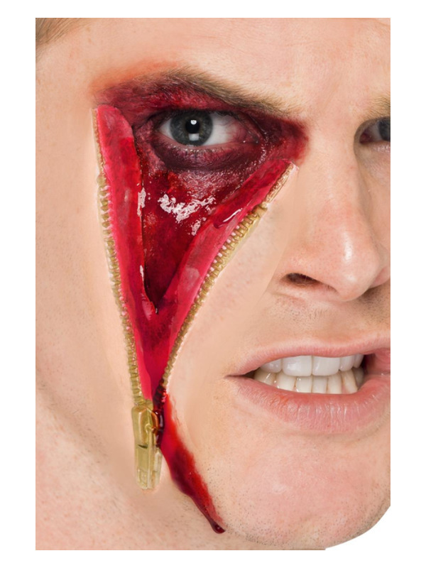 Smiffys Make-Up FX, Zip Face Latex Scar, Flesh, with Adhesive