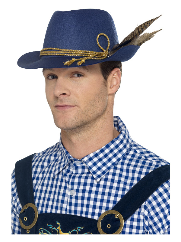 Authentic Bavarian Oktoberfest Hat, Blue, with Feather