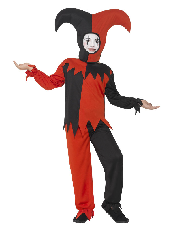 Twisted Jester Costume, Red & Black