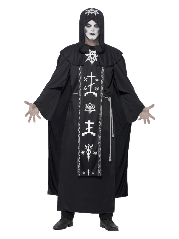 Dark Arts Ritual Costume, Black, with Hooded Robe & Belt
