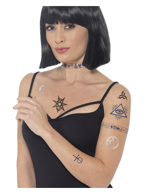 Smiffys Make-Up FX, Occult Tattoo Transfers, Blue & Black