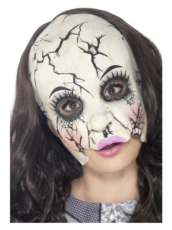 Damaged Doll Mask, Multi-Coloured, Chinless, Latex