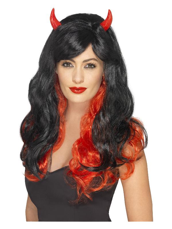 Devil Wig, Red & Black, with Horns