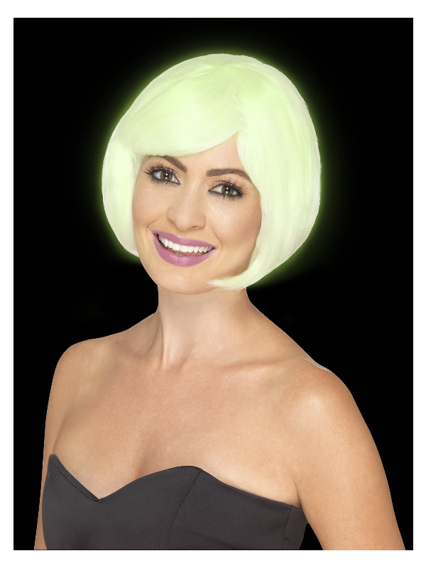 Babe Party Wig, Glow in the Dark, Short Bob with Fringe