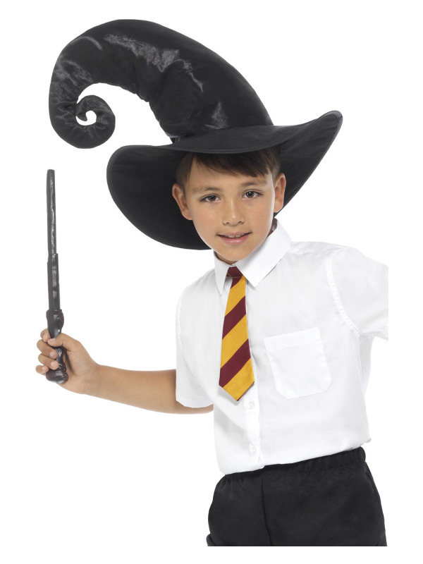 Wizard Kit, Black, with, Tie, Hat & Wand, 34cm/13in