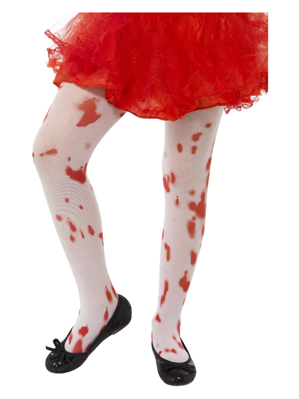 Tights, White, with Blood Stain Print, Age 6-12