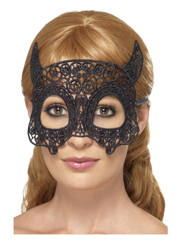 Embroidered Lace Filigree Devil Eyemask, Black