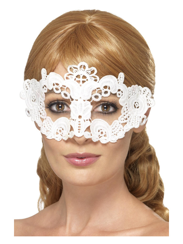 Embroidered Lace Filigree Floral Eyemask, White