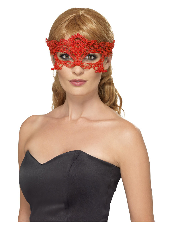 Embroidered Lace Filigree Heart Eyemask, Red