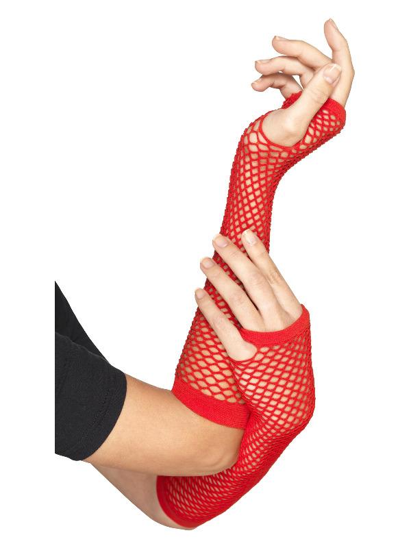 Fishnet Gloves, Red, Long