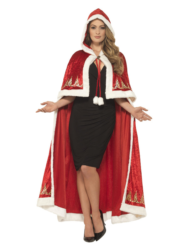 Deluxe Miss Claus Cape, Red, with Printed Detail