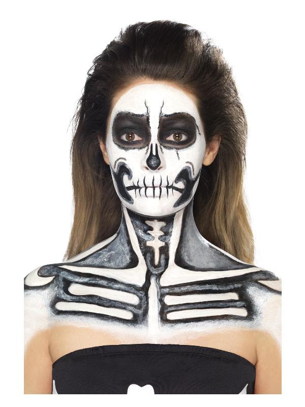 Smiffys Make-Up FX, Skeleton Liquid Latex Kit, 2 Colour Face/Body Paints & Sponge Applicators, 29.57ml/1 US fl.oz